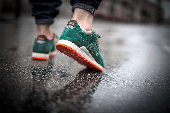 asics gel lyte v shoes - dark green/dark green