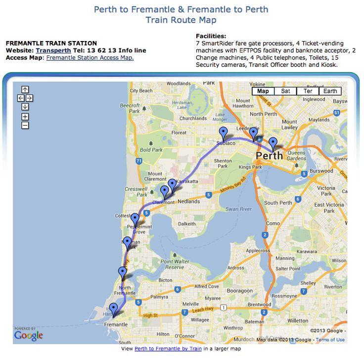 Perth to Fremantle Train (Rail) Map. Fremantle, Western Australia