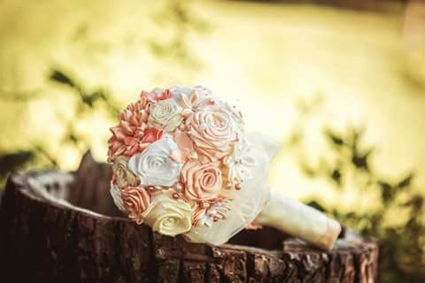 Ribbon flowers, bouquet