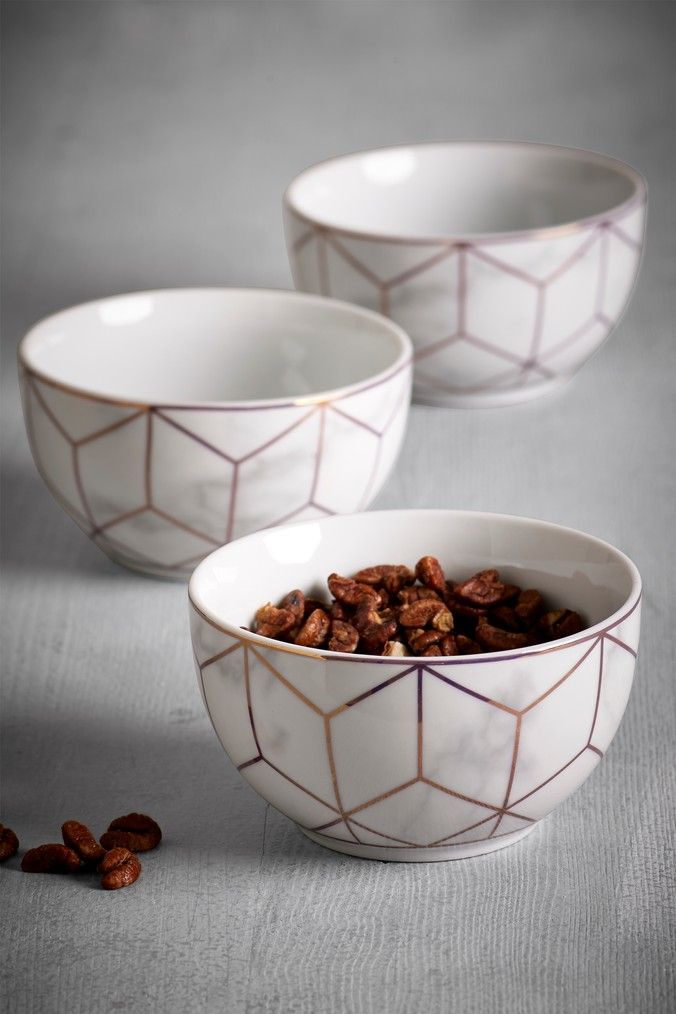 Next Set Of 3 Rose Gold Marble Effect Dip Bowls White Rose Gold Marble Rose Gold Kitchen Gold Kitchen Accessories