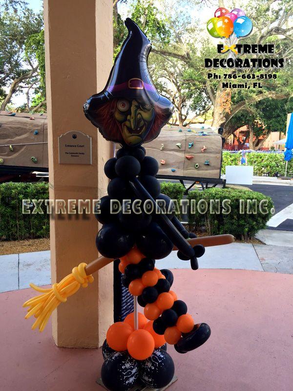 halloween witch balloon sculpture miami balloon decorations halloween decorations balloon arches extreme - Extreme Halloween Decorations