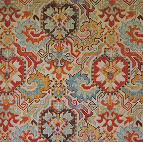 Richloom Fabrics Madrid Kilim Rug Print Persian Red Brown