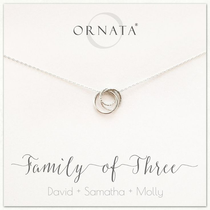 """Family of Three"" Interlocking Sterling Silver Necklace on Personalized Jewelry Card"