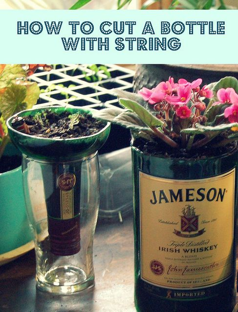 How to cut a bottle with string.