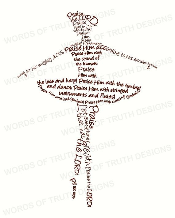 8x10 Ballerina  Word Art Print  Scripture by wordsoftruthdesigns