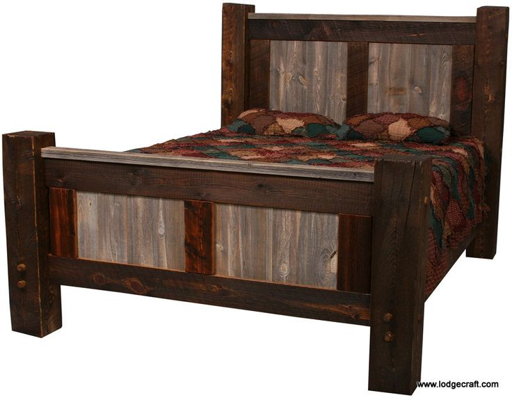 Beautiful Natural Barnwood Bed Made of reclaimed treated and finished old wood from barns Unique - Beautiful barnwood bedroom furniture