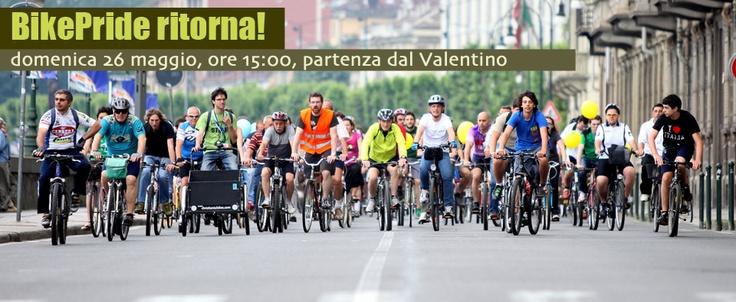 Bike Pride ritorna. Domenica 26 maggio 2013, la parata di biciclette parte dal Valentino alle 15! Seguono feste, concerti, dj-set!