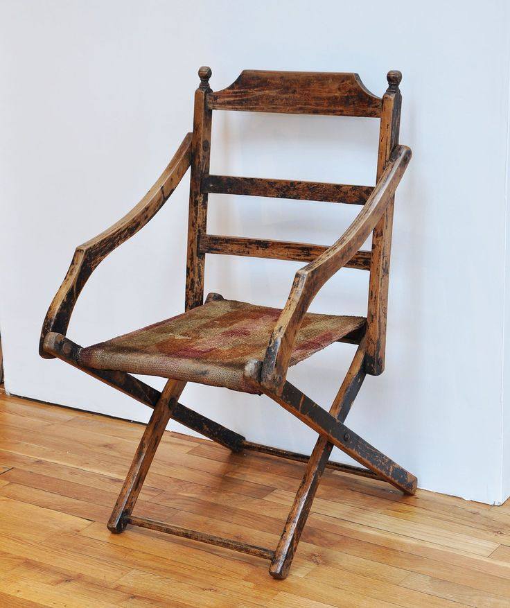 Antique Folding Campaign Chair - Bring It On Home