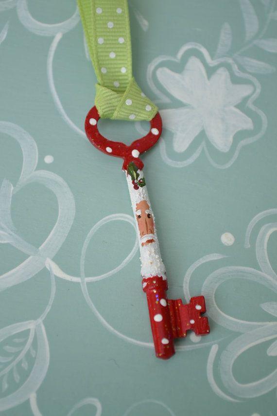 Hand Painted Santa Skeleton Key Ornament by coriekline on Etsy