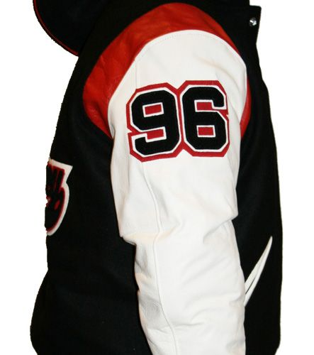 Numbers can be added to jacket sleeves to give the traditional college or varsity jacket look. www.teamjackets.net www.facebook.com/TeamVarsityJackets