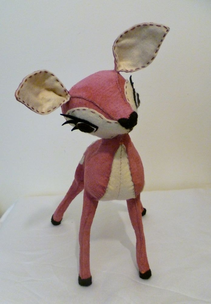 Petal // Pink Suede Leather & Cream Felt Hand Stitched Deer - Limited Edition // Etsy