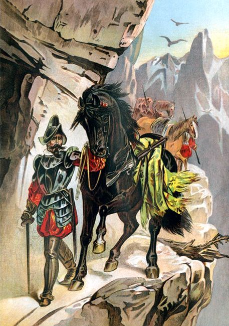 """""""Francisco Pizarro expedition ascending the Andes to conquer the Inca Empire in Peru"""""""