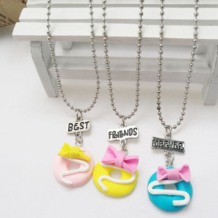 3pcs Best Friends Forever Donut Doughnut Necklace Set Cookie Friendship Jewelry #Unbranded #Charm