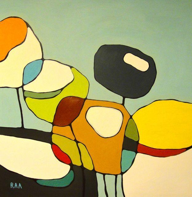 Poppies on Blue Print // Modern Poppy Art // Abstract Painting // Modern Decor…