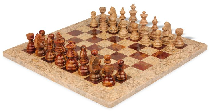 """Coral Stone & Red Marble Staunton Chess Set with 16"""" Board - The Chess Store"""
