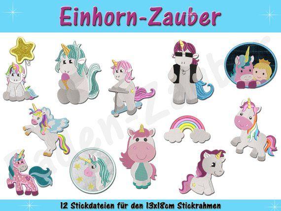 Einhorn Zauber Fur Den 13x18 Rahmen Embroidery Projects Needlecraft Pes Embroidery