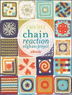 Chain Reaction Crochet Afghan Project from Crochet Me. eBook containing 20 FREE patterns for Granny Squares. ¯_(ツ)_/¯ I really ♥ the heart square!