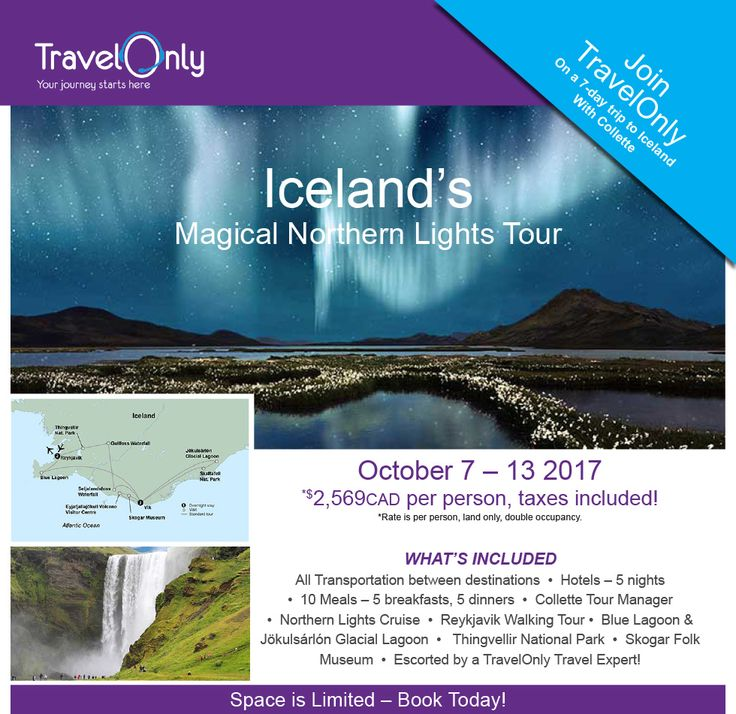 Limited time offer! Book by May 31st, 2016 for a 7 day trip to experience #Iceland's beautiful landscapes and landmarks!
