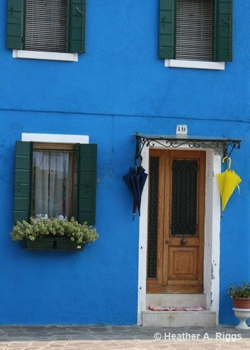Blue House with Blue and Yellow Umbrellas Burano by shyphotog, $14.00