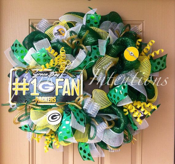 WANT! WANT! WANT!!! Green Bay PACKERS Deco Mesh Wreath by SparkledIntentions on Etsy, $110.00