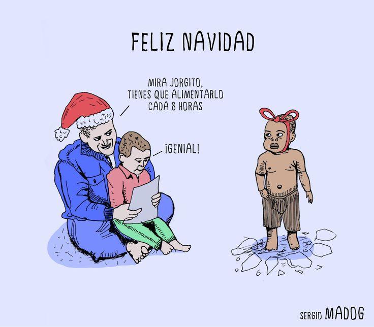 Feliz #Navidad , yo estoy esperando mi #regalo! #xmas #merrychristmas #ilustraciones #ilustracion #illustration #humornegro #blackhumor #feliznavidad #corteingles #zara #inditex #child #present #madog