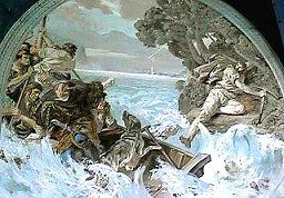 William Tell escapes from bailiff's boat (fresco in Tell's chapel near Sisikon Lake Lucerne, Central Switzerland)