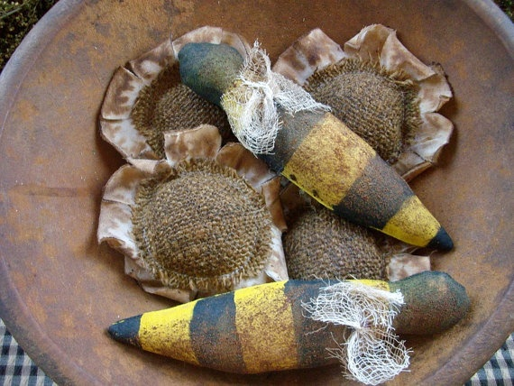 5 Primitive Grungy Summer Sunflower and Bee Bowl by oldgoatprims, $10.00