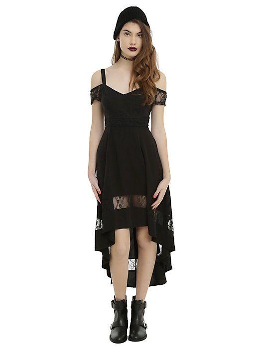Royal Bones By Tripp Black Cold Shoulder Hi-Low Dress f20ab1ee8