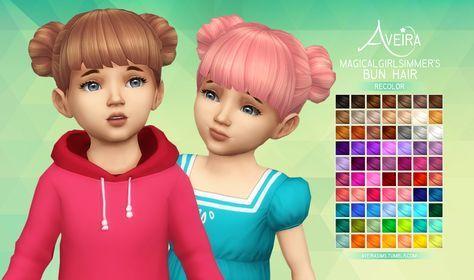 Aveira's Sims 4, Magicalgirlsimmer's Bun Hair - Recolor 70 Colors ...
