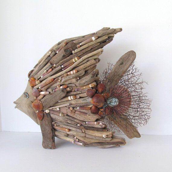Driftwood bricolage poissons