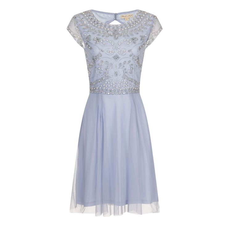ビジューオープンバック・キャップスリーブドレス(ブラッシュピンク)首元から胸元、ウエストラインに沿って、柔らかく流線のスパンコールのラインが美しい上品なドレス。 #Bridesmaid #Wedding #Dress #Blue #Pastel #Sequin