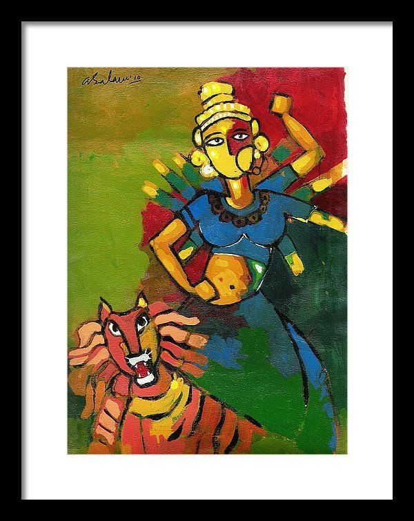 Maa Durga Framed Print featuring the painting Durga by Abdus Salam