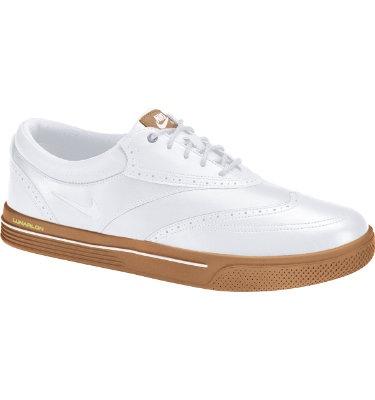 Nike Men's Lunar Swingtip Leather Golf Shoe - White/Gum Medium Brown/Volt