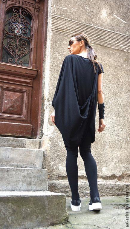 Купить Туника Oversize - черный, туника, туника на лето, летняя туника, короткое платье