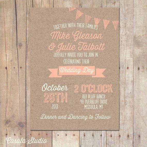 Rustic Kraft Wedding Invitation Mint Peach Bridal door casalastudio