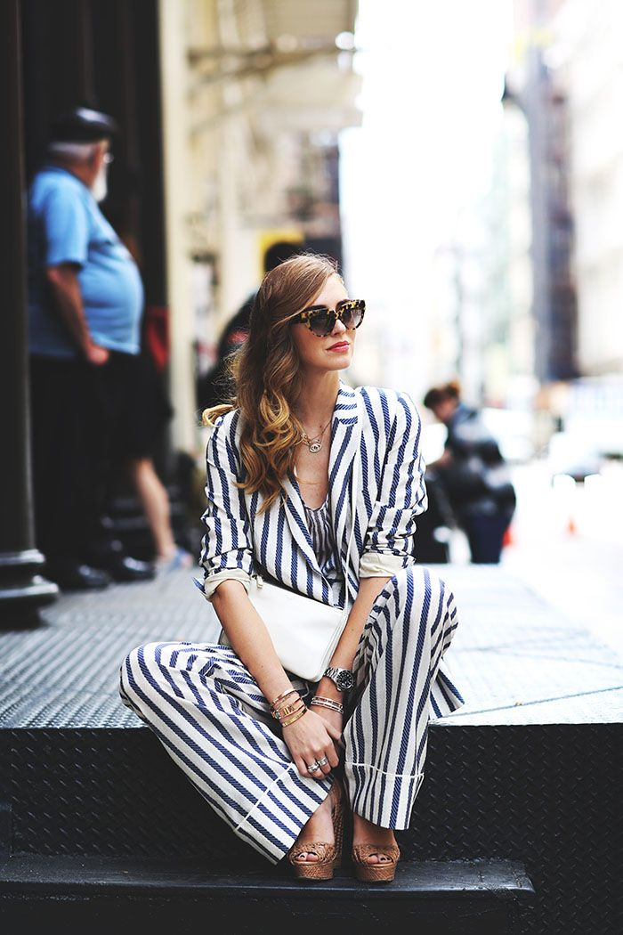 Chiara does stripes in street style