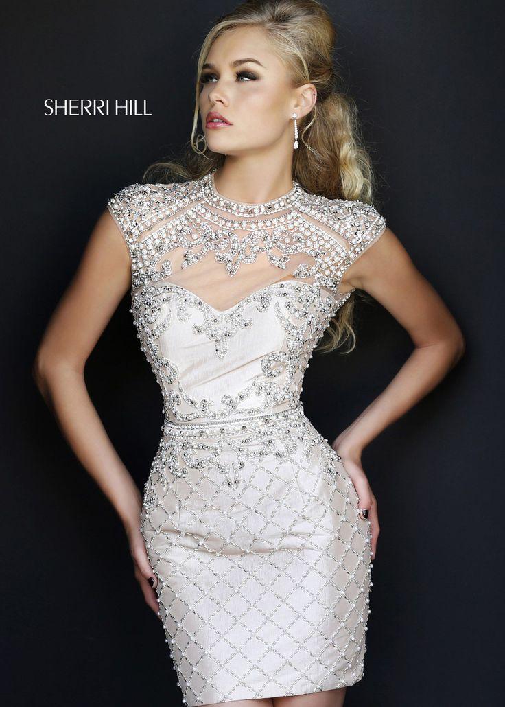 Sherri Hill 4304 - Nude Beaded Short Prom Dresses Online