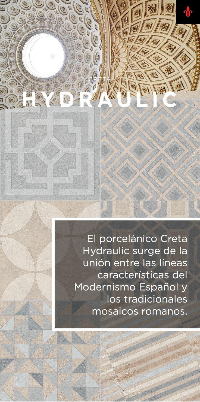 El porcelánico Creta Hydraulic surge de la unión entre las líneas características del Modernismo Español y los tradicionales mosaicos romanos.