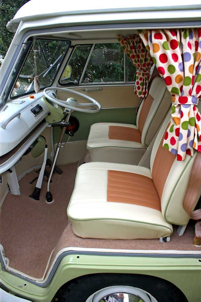 Introducing Jessie, our celebrity 1967 VW Split Screen Campervan. She is an original RHD Devon Conversion with Dormobile Pop-top Elevating Roof in Mango Green and Pastel White