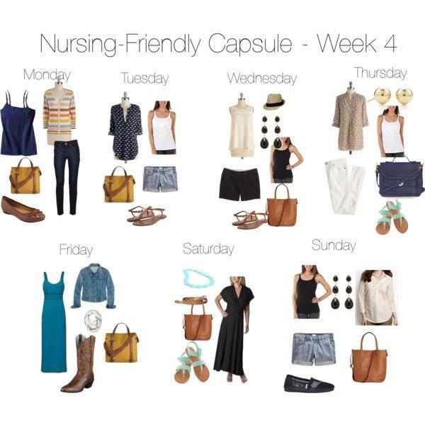 """""""Nursing-Friendly Capsule Wardrobe - Week 4"""" by pearlsandcupcakes on Polyvore"""