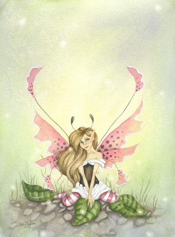 Stargazer Winged Fairy Art Original Watercolor Painting - 9x12 - A Sweet Fairy - pretty. pink. girl. for her. whimsical. fairy tale. green.