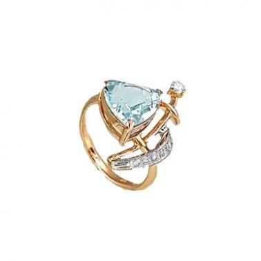 Золотое кольцо с голубым топазом и бриллиантом