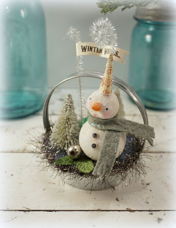 Snowman // Christmas Ornament // Folk Art // by CatandFiddlefolk