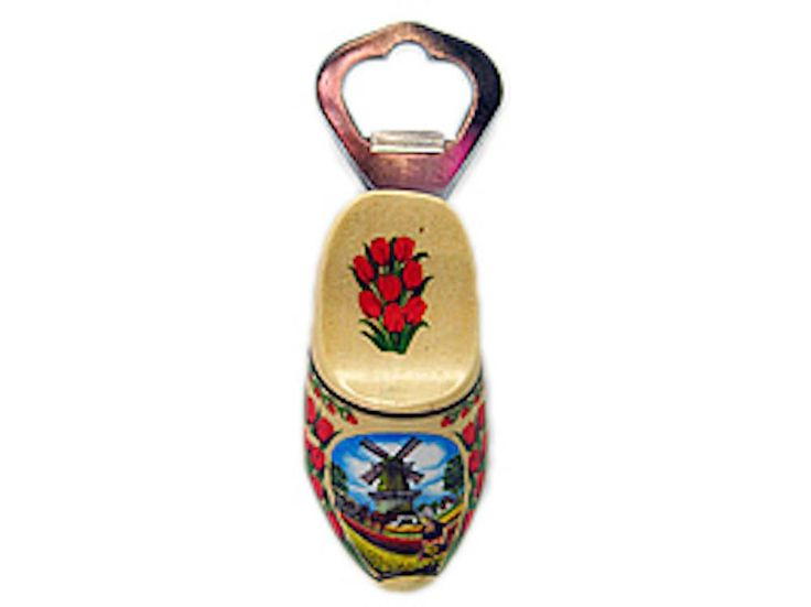 Unique Bottle Opener Fridge Magnet Wooden Shoe Natural