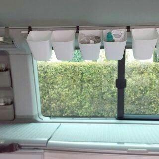 Ikea Behälter an Bushaken . | < 150~ BUS https://de.pinterest.com/klgrbus/vw-bus-camper-zubeh%C3%B6r/