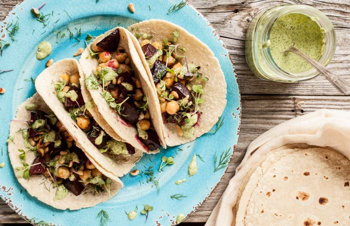 Roasted Beet & Chickpea Tacos with Herb Tahini Sauce - Dishing Up the Dirt