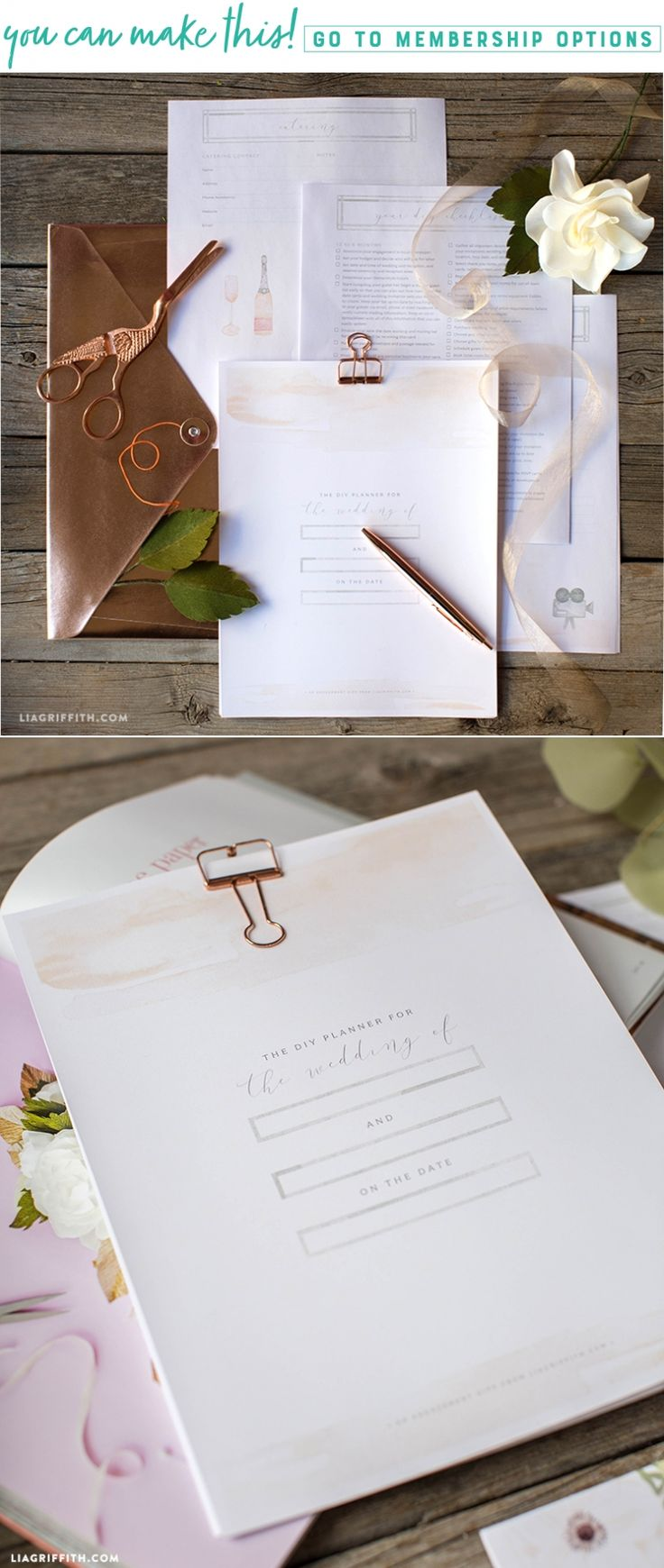 Download a pretty printable wedding planner to