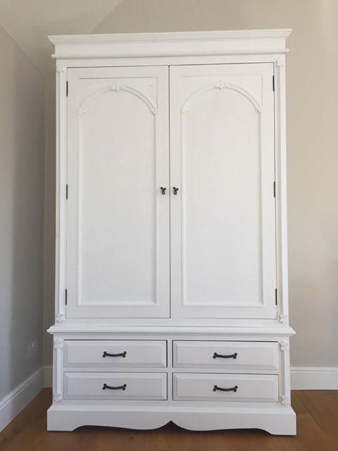 Large Double Wardrobe, Painted In Autentico Casa Blanca (Versante).  #furnitureupcycling #furniturepainting