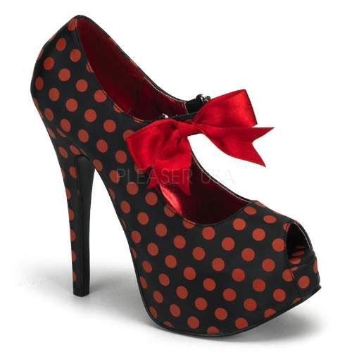 Cute vintage burlesque style polka dot shoe with red ribbon laces and cheeky peeptoe ;)