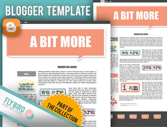 Blogger Template A Bit More by FlyBirdBranding on Etsy, €17.30